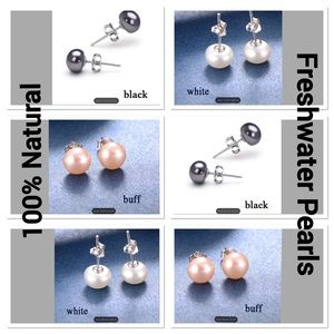 Natural Freshwater Pearls on Sterling Silver Studs